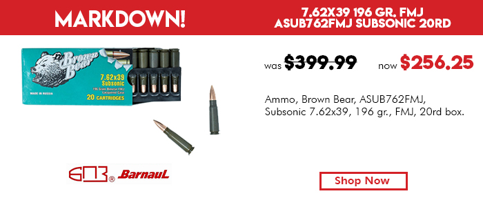 Brown Bear 7.62x39 Subsonic Ammunition Case 500 Rounds