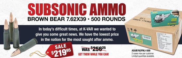 Subsonic Ammo 7.62x39 SALE